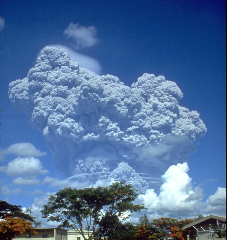 Picture of the Mount Pinatubo eruption in 1991 taken from Clark Airbase