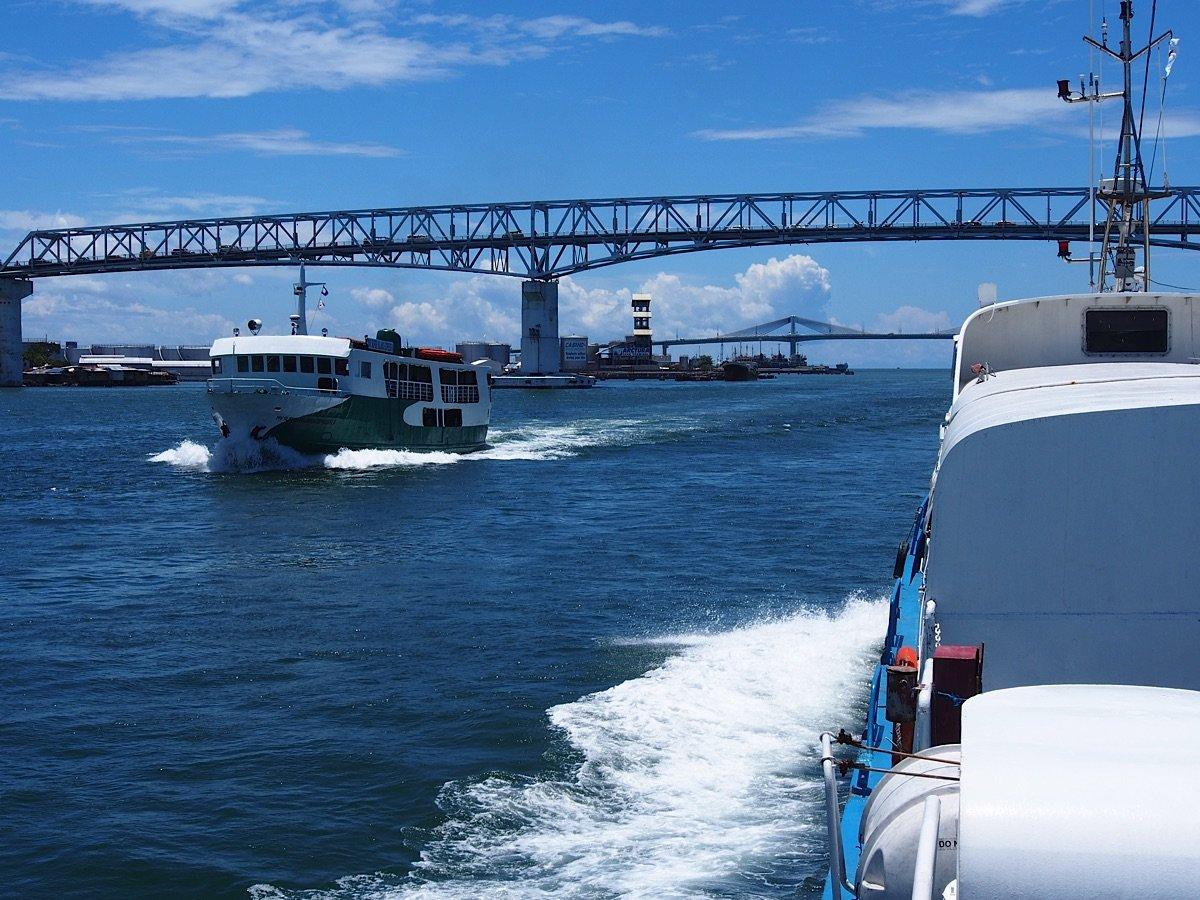 Bridge and two ferries Cebu to Leyte